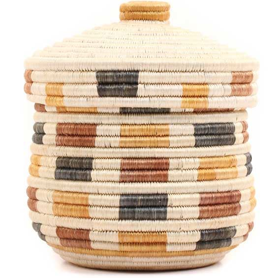 African Basket - Burundi Sisal Coil Weave Canister -  7.5 Inches Tall - #69448