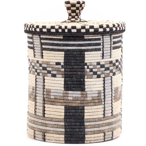 African Basket - Burundi Sisal Coil Weave Canister - 10 Inches Tall - #69471
