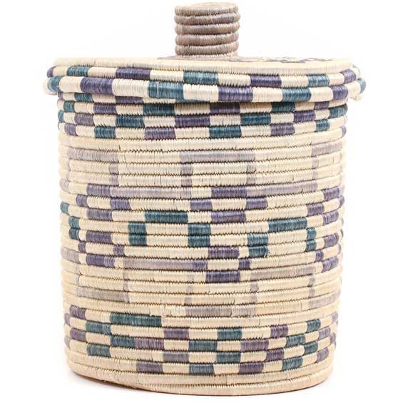 African Basket - Burundi Sisal Coil Weave Canister -  9.75 Inches Tall - #69474