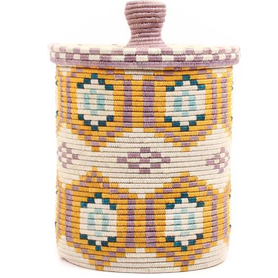 African Basket - Burundi Sisal Coil Weave Canister - 10.5 Inches Tall - #69475