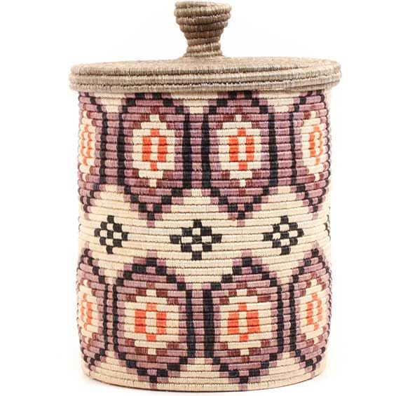 African Basket - Burundi Sisal Coil Weave Canister - 10.25 Inches Tall - #69479