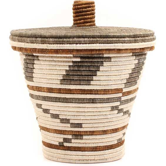 African Basket - Tapered Burundi Sisal Coil Weave Canister - 11.5 Inches Tall - #69481