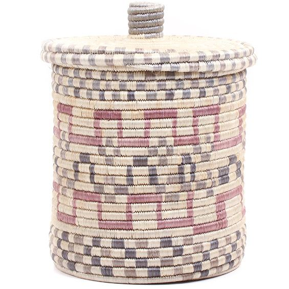 African Basket - Burundi Sisal Coil Weave Canister -  9.5 Inches Tall - #72055