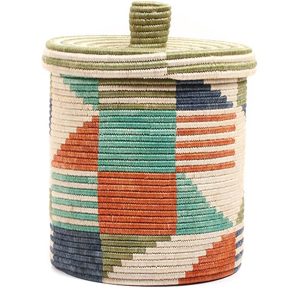African Basket - Burundi Sisal Coil Weave Canister -  9.75 Inches Tall - #72067