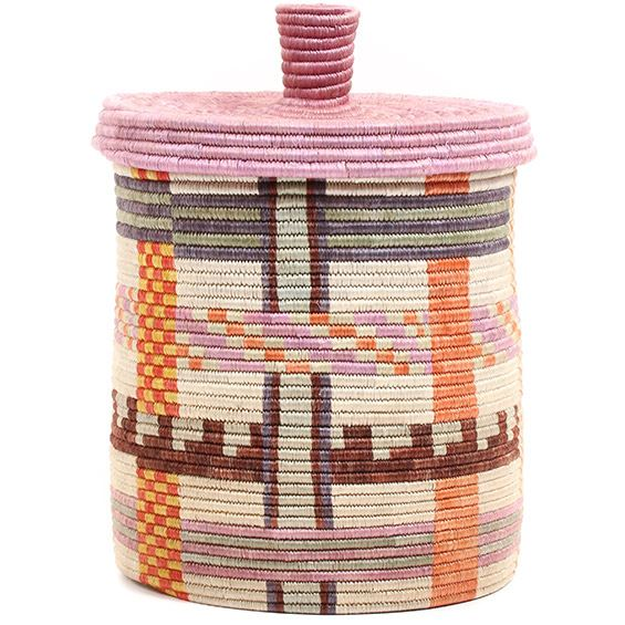 African Basket - Burundi Sisal Coil Weave Canister - 10 Inches Tall - #72070