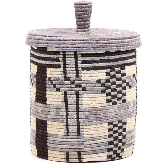 African Basket - Burundi Sisal Coil Weave Canister - 10.25 Inches Tall - #72076