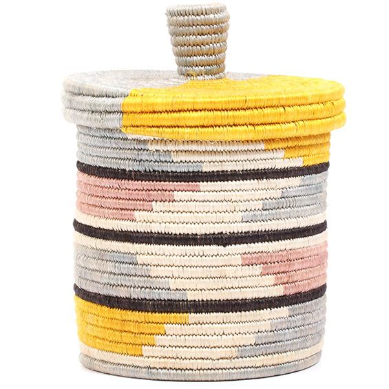 African Basket - Burundi Sisal Coil Weave Canister - 7.5 Inches Tall - #72079