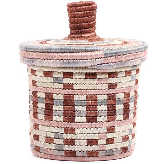 African Basket - Burundi Sisal Coil Weave Canister - 7.75 Inches Tall - #72088