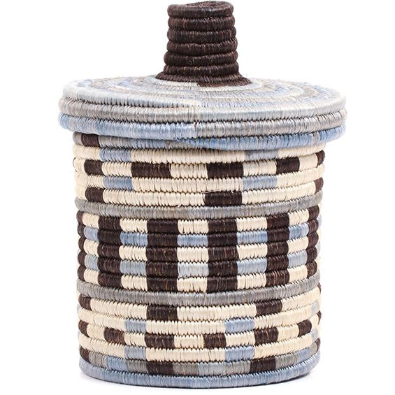 African Basket - Burundi Sisal Coil Weave Canister - 7.75 Inches Tall - #72091