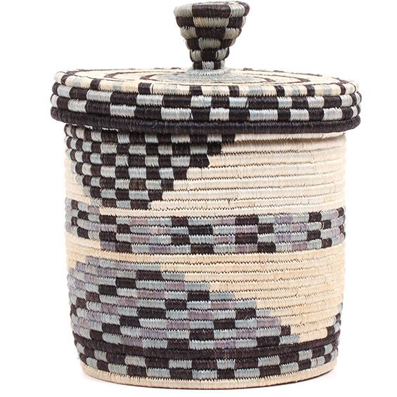 African Basket - Burundi Sisal Coil Weave Canister - 7 Inches Tall - #72100
