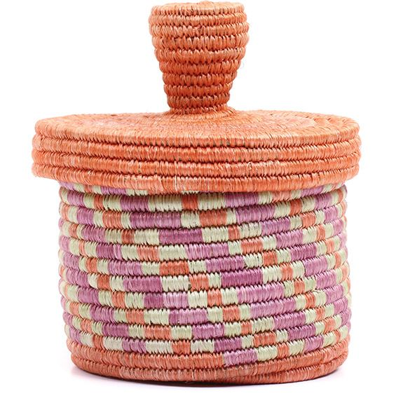 African Basket - Burundi Sisal Coil Weave Canister - 5 Inches Tall - #72103