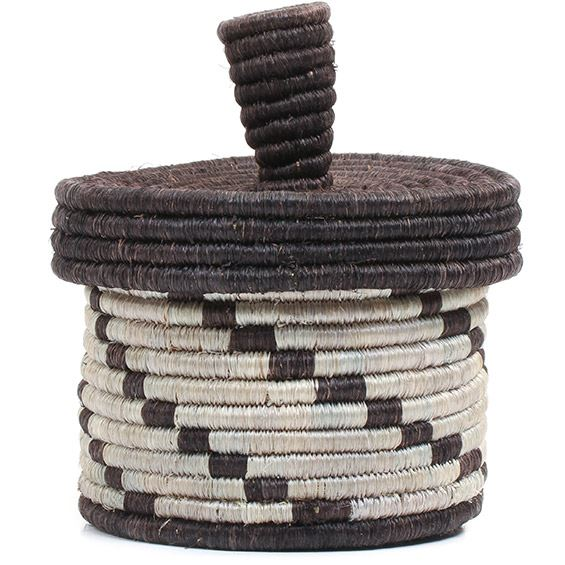 African Basket - Burundi Sisal Coil Weave Canister - 5.25 Inches Tall - #72115