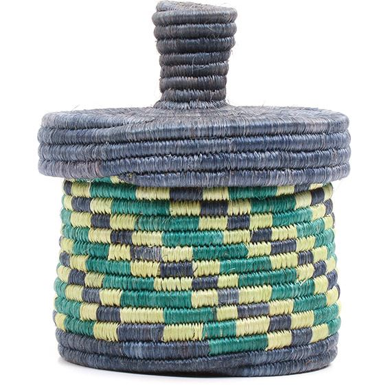 African Basket - Burundi Sisal Coil Weave Canister - 5.25 Inches Tall - #72124
