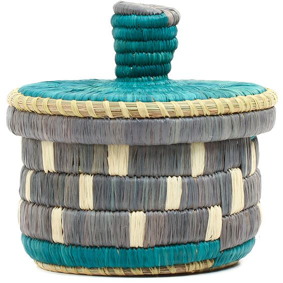 African Basket - Burundi Raffia Coil Weave Canister - 5.25 Inches Tall - #72130