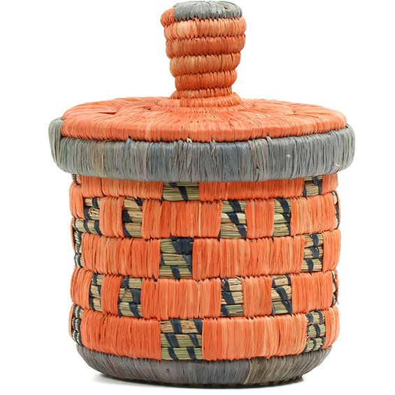 African Basket - Burundi Raffia Coil Weave Canister - 6.5 Inches Tall - #72136