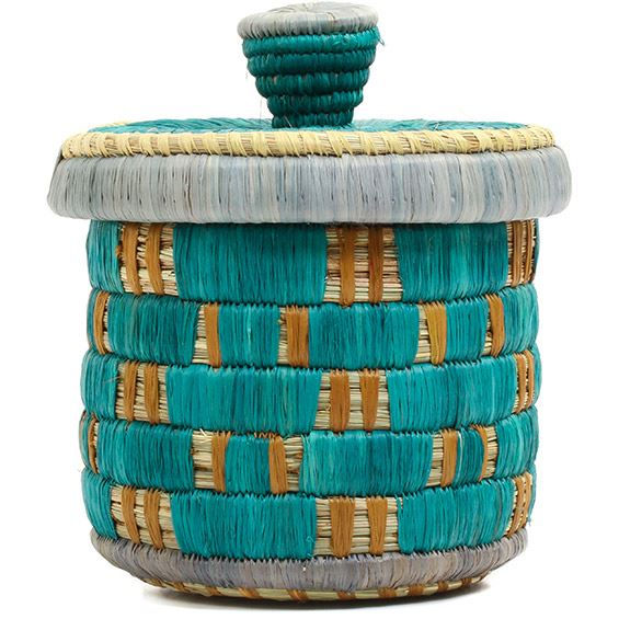 African Basket - Burundi Raffia Coil Weave Canister - 6 Inches Tall - #72142