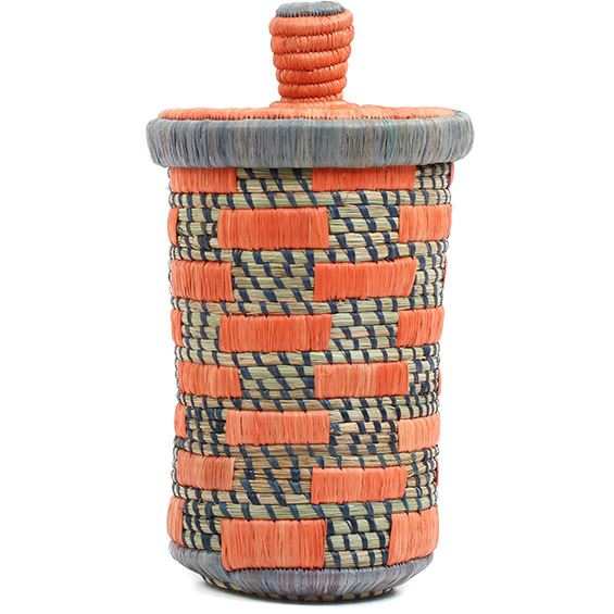African Basket - Burundi Raffia Coil Weave Canister - 10 Inches Tall - #72159