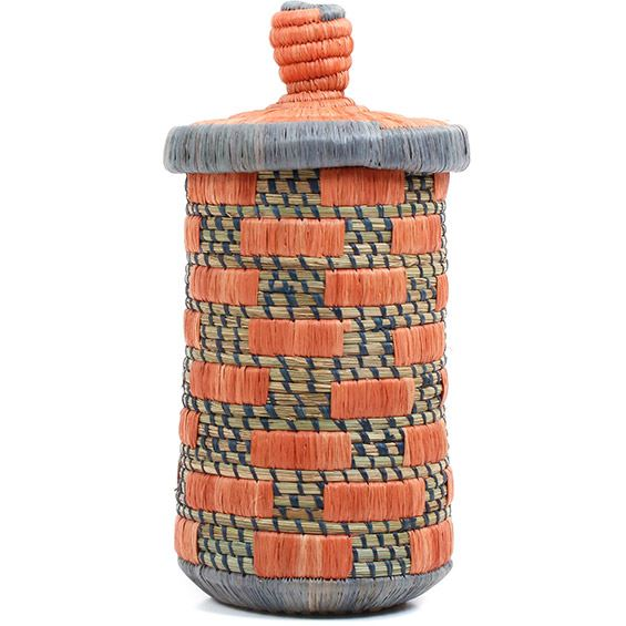 African Basket - Burundi Raffia Coil Weave Canister - 10.25 Inches Tall - #72160