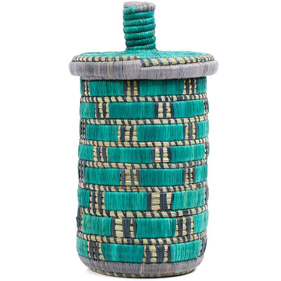 African Basket - Burundi Raffia Coil Weave Canister - 10.25 Inches Tall - #72166