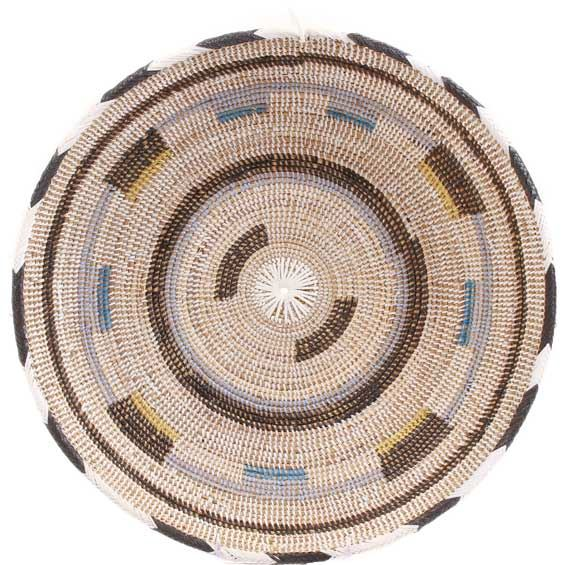 African Basket - Cameroon Coil Weave Bowl - 15.5 Inches Across - #68286