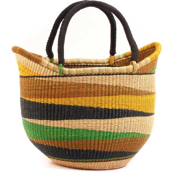 Cloth Handle Yikene Tote - African Basket - Ghana Bolga - 12 Inches Tall - #62742