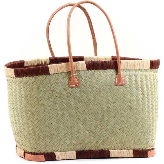 African Market Basket - Madagascar - XL Haravola Sweet Grass Rectangular Tote - Approximately 20 Inches Across - #68810
