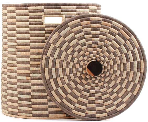 African Basket - Malawi - Large Lidded Hamper - 21 Inches Across - #66805