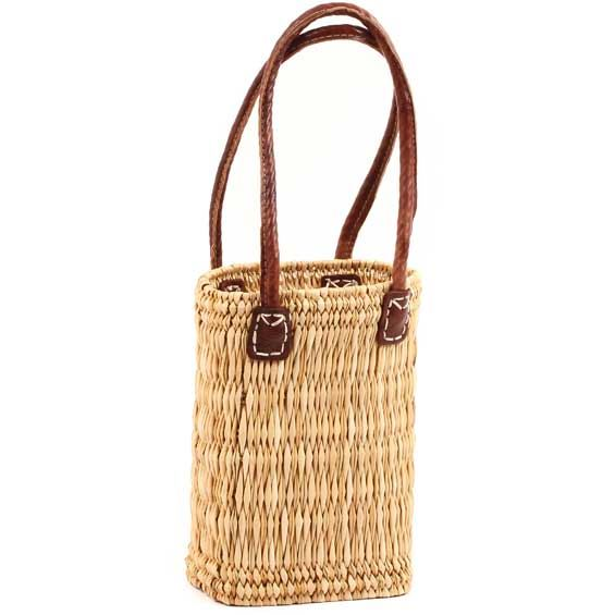 African Basket - Morocco - Slender Bulrush Tote - Approximately 8 Inches Across - #MR105