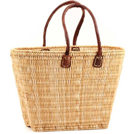 African Basket - Morocco - Large Tapered Bulrush Tote - Approximately 17 Inches Across - #MR1151