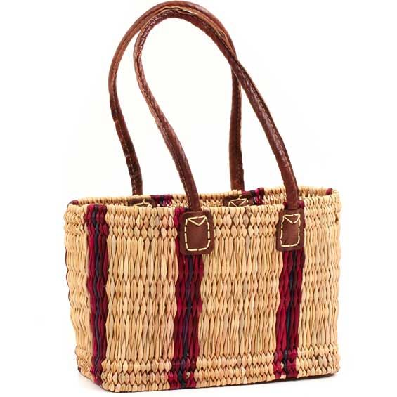 African Basket - Morocco - Small Cranberry Stripes Bulrush Tote - Approximately 13 Inches Across - #MR310-A