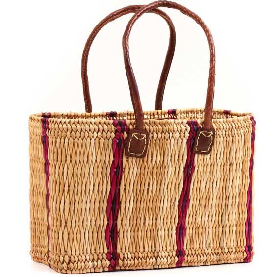African Basket - Morocco - Medium Cranberry Stripes Bulrush Tote - Approximately 16 Inches Across - #MR310-B