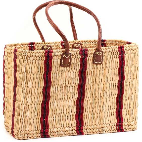 African Basket - Morocco - Large Cranberry Stripes Bulrush Tote - Approximately 19 Inches Across - #MR310-C