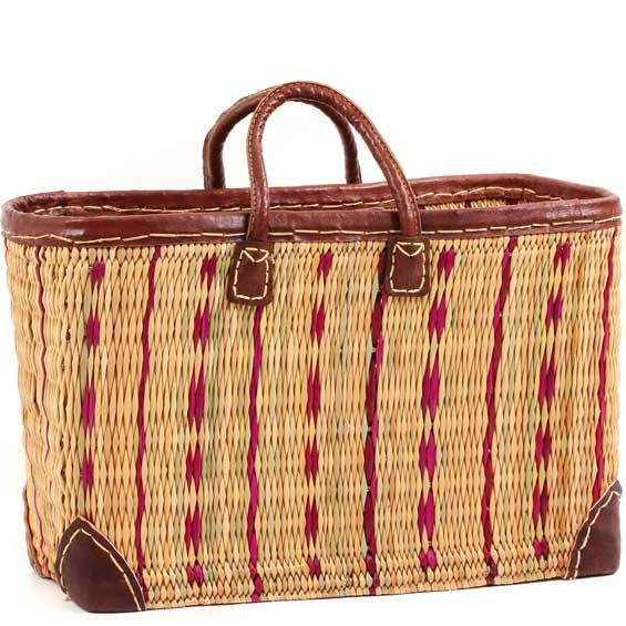 African Basket - Morocco - Large Cranberry Stripes and Leather Trim Tote - Approximately 19 Inches Across - #MR320-C
