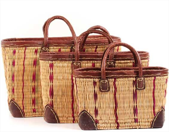 African Basket - Morocco - Set of 3 Cranberry Stripes and Leather Trim Totes - #MR320