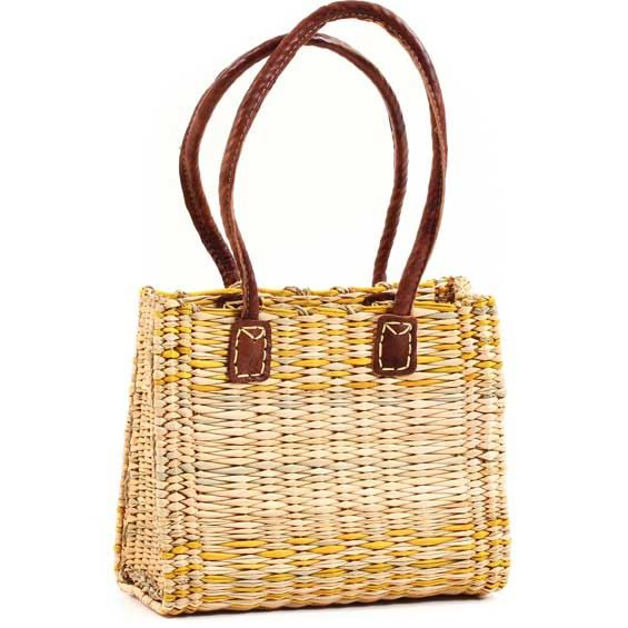 African Basket - Morocco - Small Yellow Stripes Bulrush Tote - Approximately 11.5 Inches Across - #MR325-A