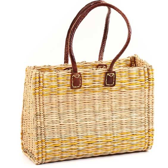 African Basket - Morocco - Medium Yellow Stripes Bulrush Tote - Approximately 14 Inches Across - #MR325-B