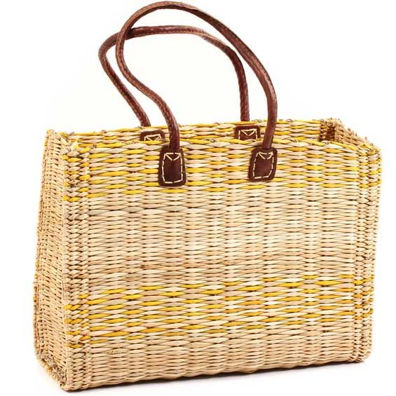 African Basket - Morocco - Large Yellow Stripes Bulrush Tote - Approximately 17 Inches Across - #MR325-C
