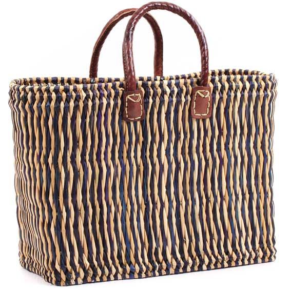 African Basket - Morocco - Small Navy Pin Stripes Bulrush Tote - Approximately 17 Inches Across - #MR330-A