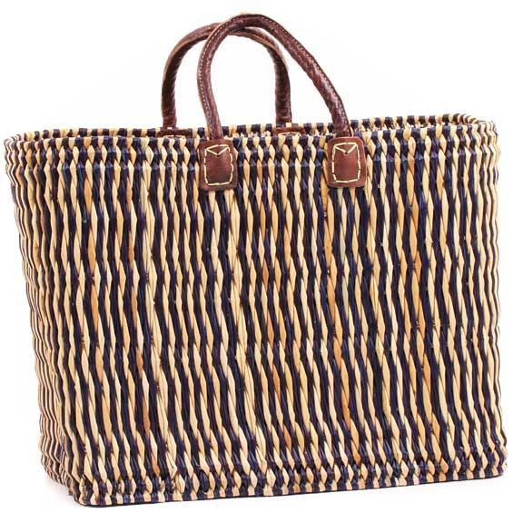 African Basket - Morocco - Medium Navy Pin Stripes Bulrush Tote - Approximately 20 Inches Across - #MR330-B