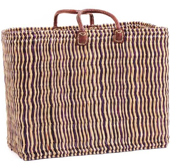African Basket - Morocco - Large Navy Pin Stripes Bulrush Tote - Approximately 23 Inches Across - #MR330-C