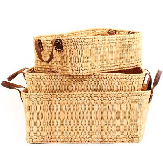 African Basket - Morocco - Set of 3 Rectangular Bulrush Totes - #MR3C05