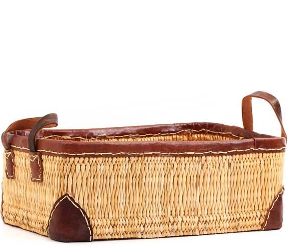 African Basket - Morocco - Small Leather Trim Rectangular Bulrush Basket - #MR3C10-A