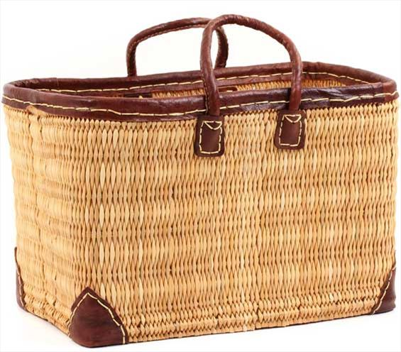 African Basket - Morocco - Large Leather Trim Rectangular Bulrush Basket - #MR410-C