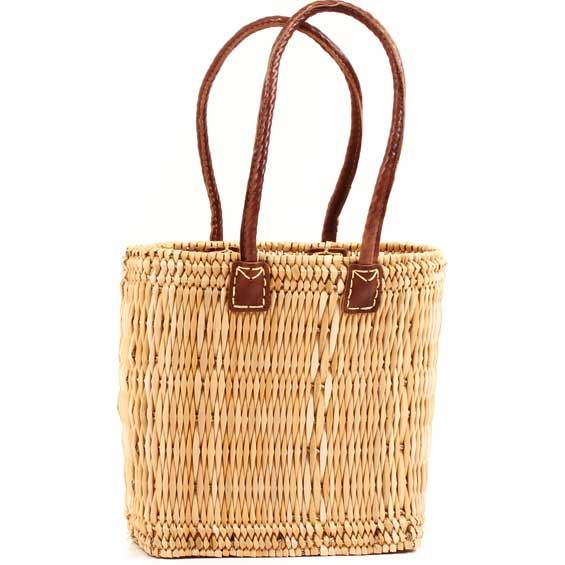 African Basket - Morocco - Small Long-Handled Bulrush Tote - Approximately 12.5 Inches Across - #MR907-A