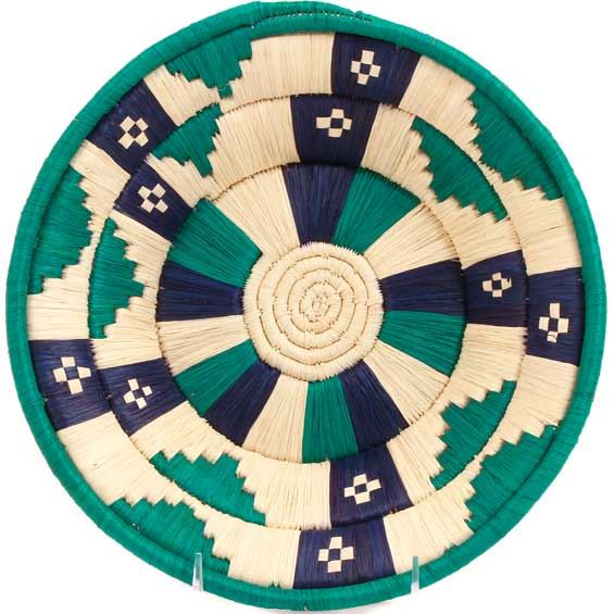 African Basket - Uganda - Banded Weave Bowl - 10 Inches Across - #UR3010