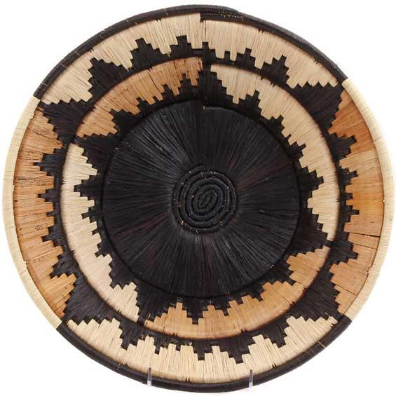 African Basket - Uganda - Banded Weave Bowl - 14 Inches Across - #UR4414