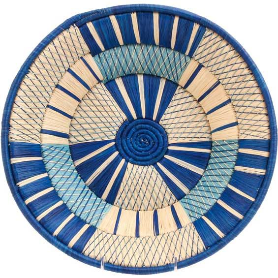 African Basket - Uganda - Banded Weave Bowl - 14 Inches Across - #UR6214