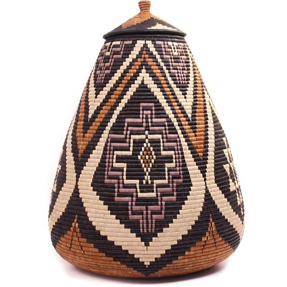 African Basket - Zulu Ilala Palm - Ukhamba - 24 Inches Tall - #44208