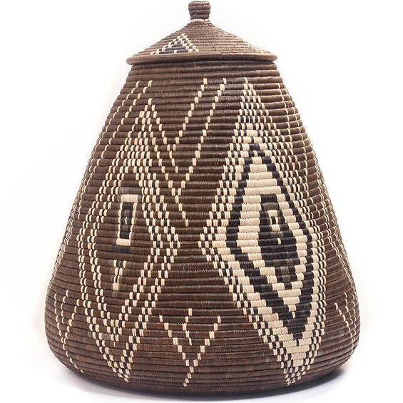 African Basket - Zulu Ilala Palm - Ukhamba - 18.5 Inches Tall - #46772