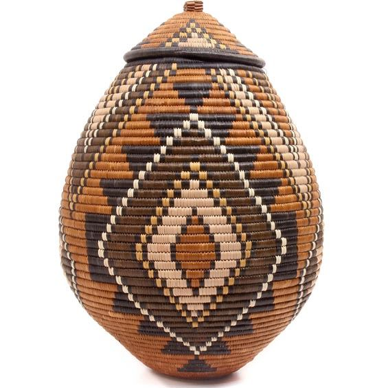 African Basket - Zulu Ilala Palm - Ukhamba - 17 Inches Tall - #50657